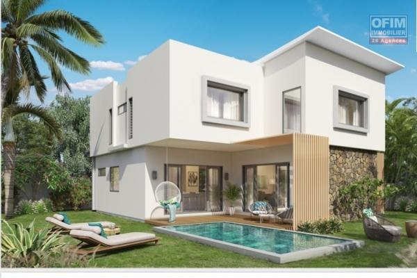 For sale a program of 3 villas 100 meters from the beach of Trou aux Biches, accessible for purchase to foreigners with a permanent residence permit for the whole family and to Mauritians.