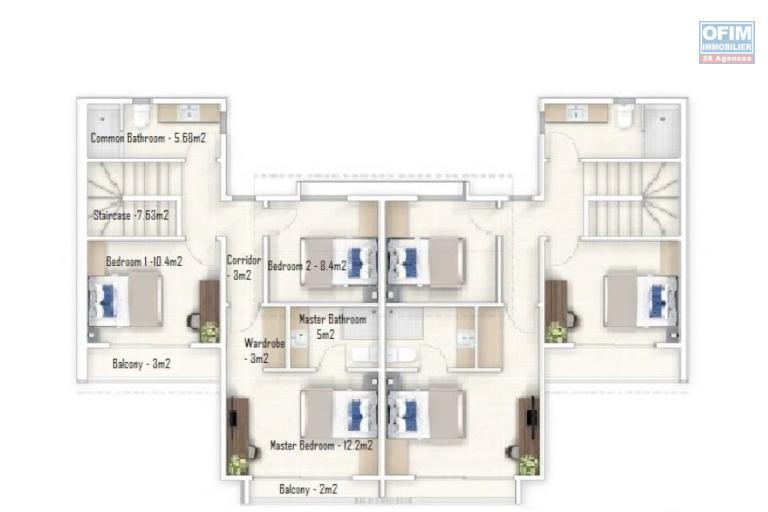 Projet vente locale de 12 duplex de 115 m2 habitable avec piscine à Arsenal.