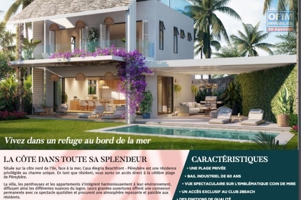 A vendre sur la cote nord de l'ile Maurice un programme de 4 appartements pieds dans l'eau accessible à l'achat aux étrangers et aux mauriciens.