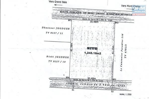 A vendre beau terrain de 29,50 perches à Pointe aux canonniers